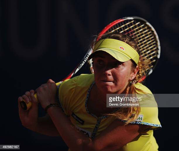 Elina Svitolina of Ukraine plays a backhand during her match against Mona Barthel of Germany during Day 6 of the Nuernberger Versicherungscup on May...