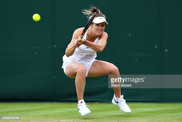 Elina Svitolina of Ukraine plays a backhand during the Ladies Singles second round match against Yaroslava Shvedova of Kazakhstan on day four of the...