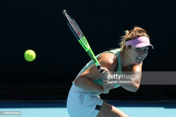 Elina Svitolina of Ukraine plays a backhand in her match against Jelena Ostapenko of Latvia during day four of the WTA 500 Gippsland Trophy at...