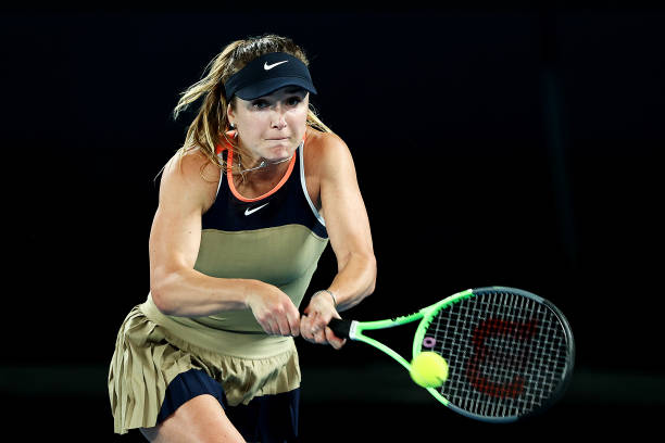 Elina Svitolina of Ukraine plays a backhand in her Women's Singles second round match against Coco Gauff of the United States during day four of the...