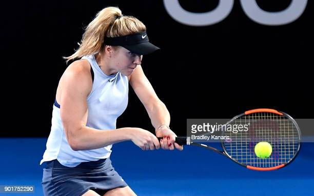 Elina Svitolina of Ukraine plays a backhand in the WomenÕs Final match against Aliaksandra Sasnovich of Bulgaria during day seven of the 2018...
