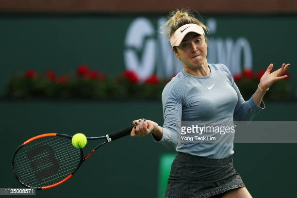 Elina Svitolina of Ukraine plays a forehand against Daria Gavrilova of Australia during their women's singles third round match on Day 7 of the BNP...