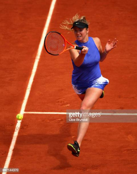 Elina Svitolina of Ukraine plays a forehand during the ladies singles third round match against Magda Linette of Poland on day eight of the 2017...