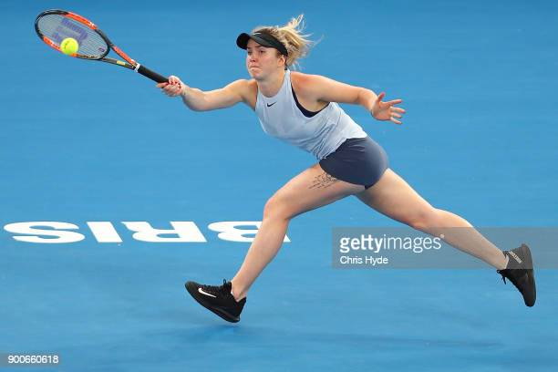 Elina Svitolina of Ukraine plays a forehand in her match against Ana Konjuh of Croatia during day four of the 2018 Brisbane International at Pat...