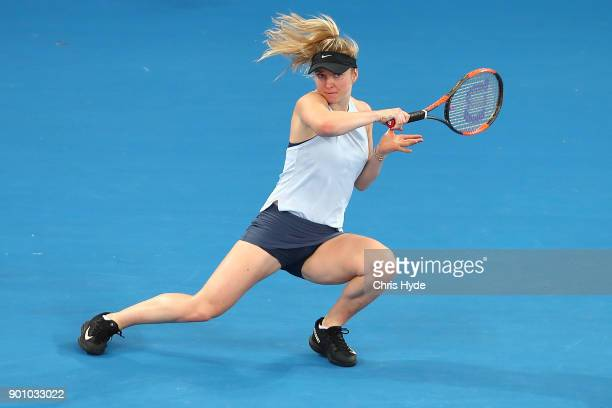 Elina Svitolina of Ukraine plays a forehand in her match against Johanna Konta of Great Britain during day five of the 2018 Brisbane International at...