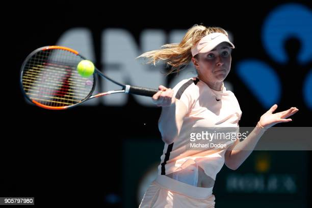 Elina Svitolina of Ukraine plays a forehand in her second round match against Katerina Siniakova of the Czech Republic on day three of the 2018...
