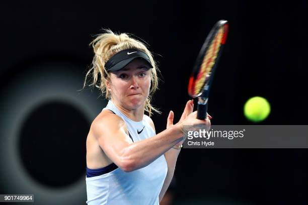 Elina Svitolina of Ukraine plays a forehand in the WomenÕs Final match against Aliaksandra Sasnovich of Bulgaria during day seven of the 2018...