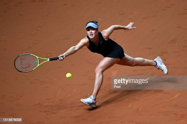 Elina Svitolina of Ukraine plays a forehand shot during the match between Elina Svitolina of Ukraine and Angelique Kerber of Germany during day 6 of...