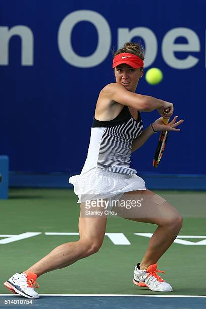 Elina Svitolina of Ukraine plays a forehand shot to Eugenie Bouchard of Canada during the Singles Final of the 2016 BMW Malaysian Open at Kuala...