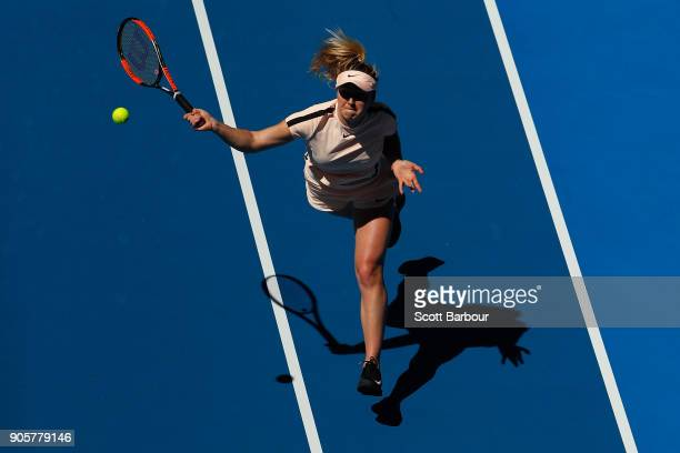 Elina Svitolina of Ukraine plays a forehand smash in her second round match against Katerina Siniakova of the Czech Republic on day three of the 2018...