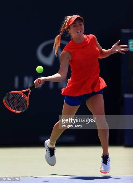 Elina Svitolina of Ukraine plays a shot against Caroline Wozniacki of Denmark during the final match on Day 9 of the Rogers Cup at Aviva Centre on...