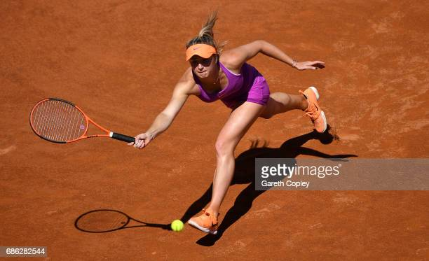 Elina Svitolina of Ukraine plays a shot against Simona Halep of Romania in the final of The Internazionali BNL d'Italia 2017 at Foro Italico on May...