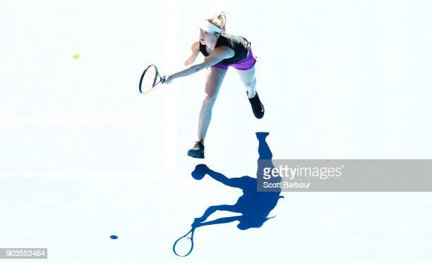 Elina Svitolina of Ukraine plays a shot during a practice session ahead of the 2018 Australian Open at Melbourne Park on January 11 2018 in Melbourne...