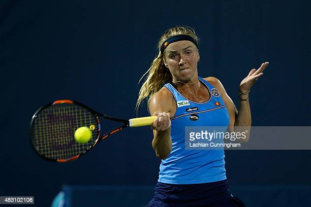 Elina Svitolina of Ukraine plays against Nicole Gibbs of the United States during day three of the Bank of the West Classic at the Stanford...