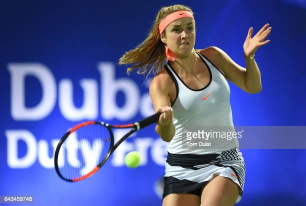 Elina Svitolina of Ukraine plays forehand against Saisai Zheng of China during day three of the WTA Dubai Duty Free Tennis Championship at the Dubai...
