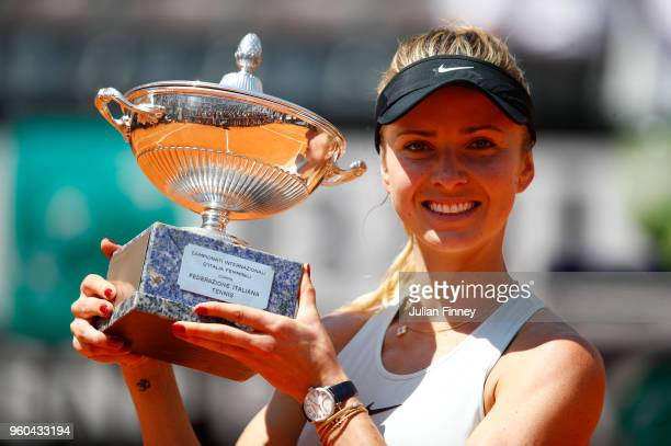 Elina Svitolina of Ukraine poses with the trophy after the Women's Singles final match between Simona Halep and Elina Svitolina on Day Eight of the...