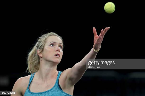 Elina Svitolina of Ukraine practices during the Tie Break Tens at Madison Square Garden on March 5 2018 in New York City