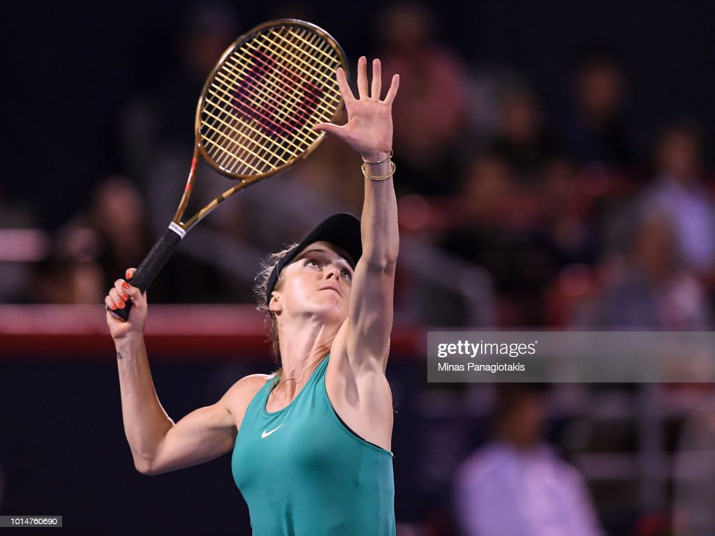 Elina Svitolina of Ukraine prepares to hit a return against Elise Mertens of Belgium during day five of the Rogers Cup at IGA Stadium on August 10, 2018 in Montreal, Quebec, Canada.