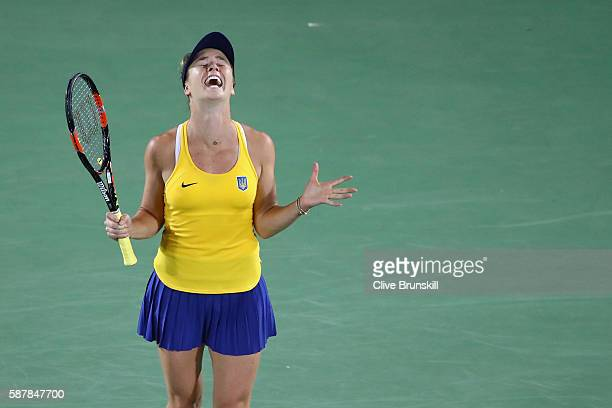 Elina Svitolina of Ukraine reacts after defeating Serena Williams of the United States in a Women's Singles Third Round match on Day 4 of the Rio...