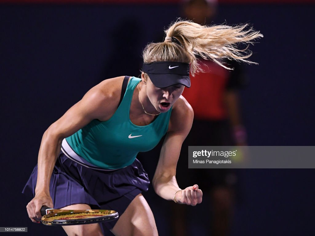 Elina Svitolina of Ukraine reacts after scoring a point against Elise Mertens of Belgium during day five of the Rogers Cup at IGA Stadium on August 10, 2018 in Montreal, Quebec, Canada.