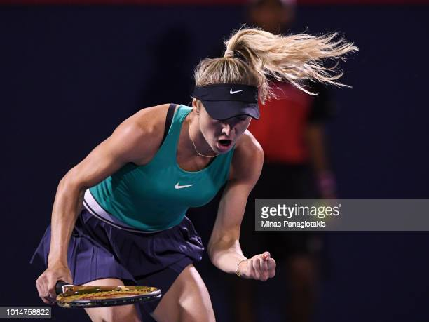 Elina Svitolina of Ukraine reacts after scoring a point against Elise Mertens of Belgium during day five of the Rogers Cup at IGA Stadium on August...