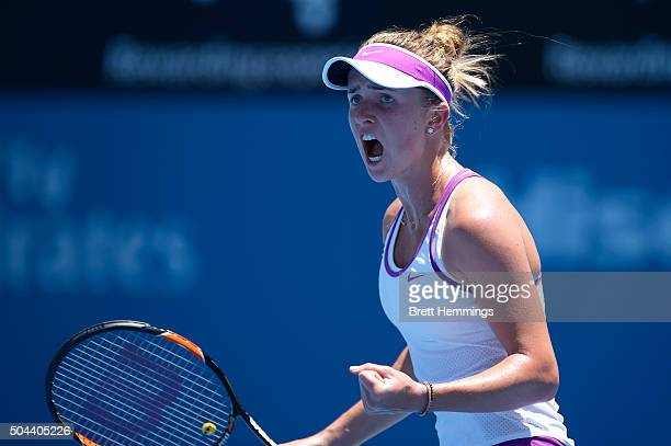 Elina Svitolina of Ukraine reacts after winning the first set during day two of the 2016 Sydney International at Sydney Olympic Park Tennis Centre on...