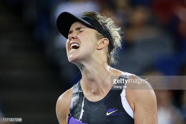 Elina Svitolina of Ukraine reacts during the match against Alison Riske of USA on Day 5 of 2019 Dongfeng Motor Wuhan Open at Optics Valley...