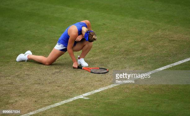 Elina Svitolina of Ukraine reacts during the second round match against Camila Giorgi of Italy on day four of The Aegon Classic Birmingham at...