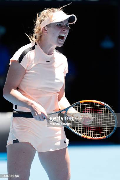 Elina Svitolina of Ukraine reacts in her second round match against Katerina Siniakova of the Czech Republic on day three of the 2018 Australian Open...