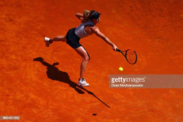 Elina Svitolina of Ukraine returns a backhand in her Womens Final match against Simona Halep of Romania during day 8 of the Internazionali BNL...
