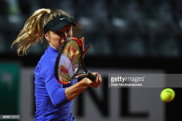 Elina Svitolina of Ukraine returns a forehand in her match against Petra Martic of Croatia during day 3 of the Internazionali BNL d'Italia 2018...