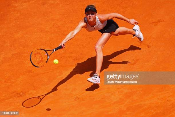 Elina Svitolina of Ukraine returns a forehand in her Womens Final match against Simona Halep of Romania during day 8 of the Internazionali BNL...