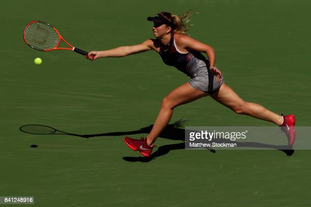 Elina Svitolina of Ukraine returns a shot against Evgeniya Rodina of Russia on Day Four of the 2017 US Open at the USTA Billie Jean King National...