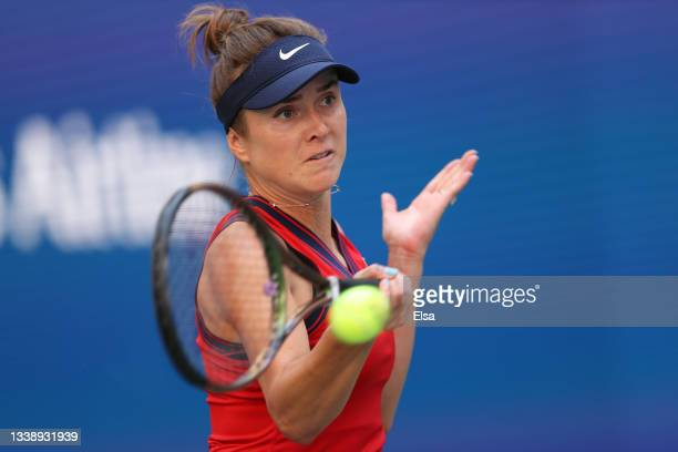 Elina Svitolina of Ukraine returns against Leylah Annie Fernandez of Canada during her Women's Singles quarterfinals match on Day Nine of the 2021 US...