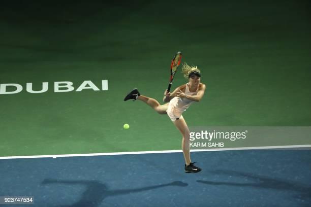 Elina Svitolina of Ukraine returns the ball to Daria Kasatkina of Russai during their final match at the WTA Dubai Duty Free Tennis Championship on...