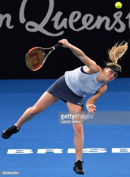 Elina Svitolina of Ukraine serves against Ana Konjuh of Croatia during their round of 16 match at the Brisbane International tennis tournament at the...