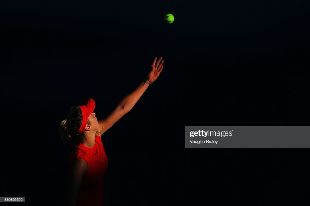 Elina Svitolina of Ukraine serves against Simona Halep of Romania during a semifinal match on Day 8 of the Rogers Cup at Aviva Centre on August 12, 2017 in Toronto, Canada.