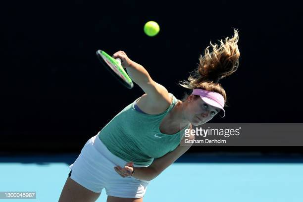 Elina Svitolina of Ukraine serves in her match against Jelena Ostapenko of Latvia during day four of the WTA 500 Gippsland Trophy at Melbourne Park...