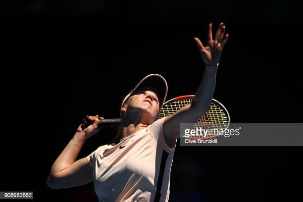 Elina Svitolina of Ukraine serves in her quarterfinal match against Elise Mertens of Belgium on day nine of the 2018 Australian Open at Melbourne...