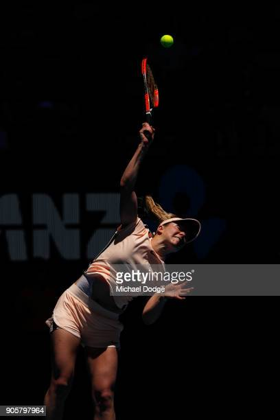 Elina Svitolina of Ukraine serves in her second round match against Katerina Siniakova of the Czech Republic on day three of the 2018 Australian Open...