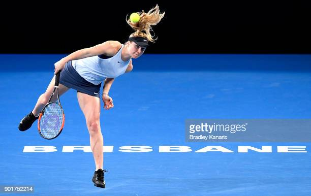 Elina Svitolina of Ukraine serves in the WomenÕs Final match against Aliaksandra Sasnovich of Bulgaria during day seven of the 2018 Brisbane...