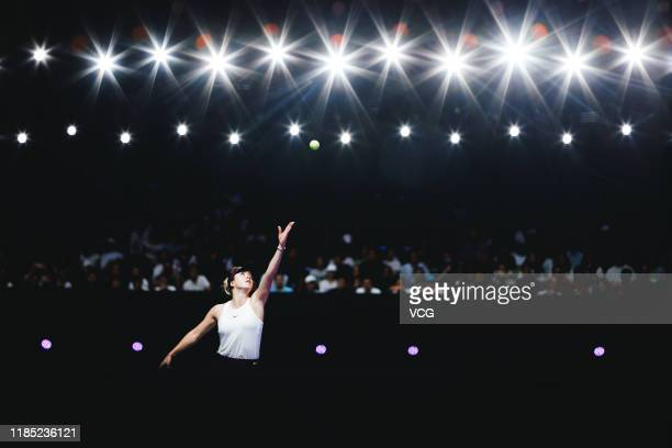Elina Svitolina of Ukraine serves in the Women's Singles final match against Ashleigh Barty of Australia on Day eight of the 2019 WTA Finals at...