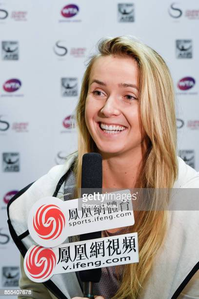 Elina Svitolina of Ukraine takes an interview during the preview day of the 2017 China Open at the China National Tennis Centre on September 29 2017...
