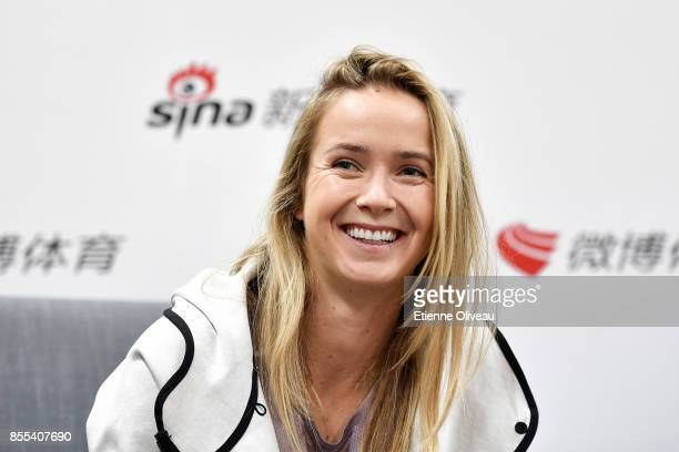 Elina Svitolina of Ukraine takes an interview during the preview day of the 2017 China Open at the China National Tennis Centre on September 29, 2017...