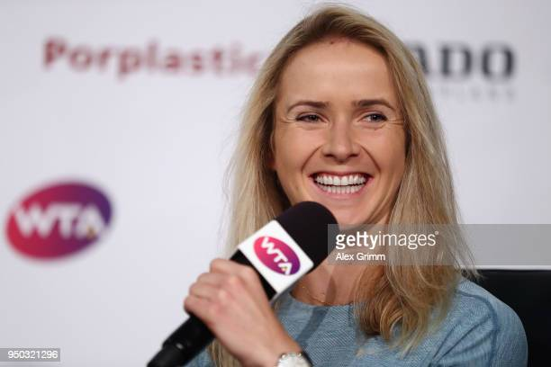 Elina Svitolina of Ukraine talks to the media during day 1 of the Porsche Tennis Grand Prix at PorscheArena on April 23 2018 in Stuttgart Germany