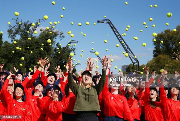Elina Svitolina of Ukraine tosses tennis balls with over 300 ball kids ahead of the 2019 Australian Open at Melbourne Park on January 07 2019 in...