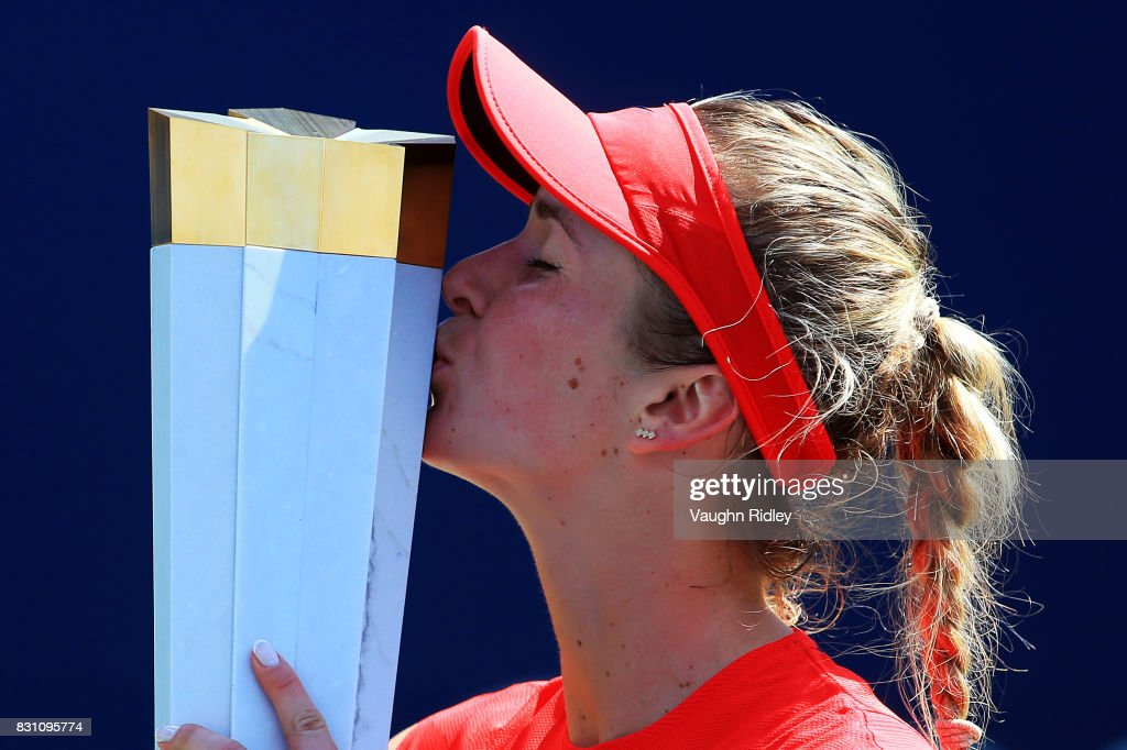 Elina Svitolina of Ukraine with the winners trophy after defeating Caroline Wozniacki of Denmark following the final match on Day 9 of the Rogers Cup at Aviva Centre on August 13, 2017 in Toronto, Canada.