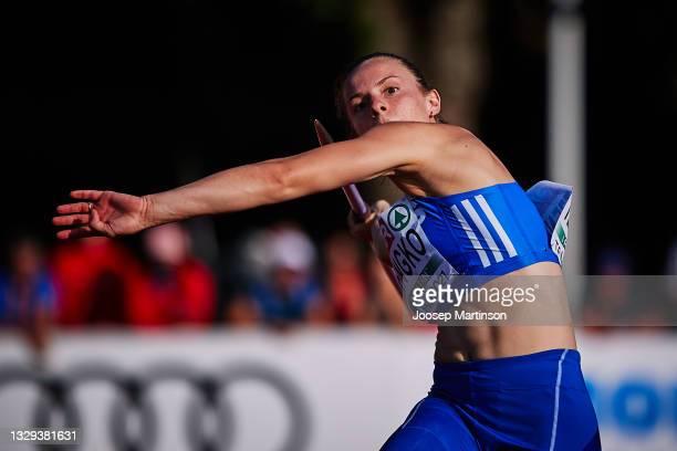 Elina Tzengko of Greece competes in the Women's Javelin Throw Final during European Athletics U20 Championships Day 4 at Kadriorg Stadium on July 18,...