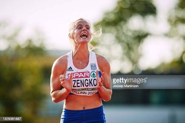 Elina Tzengko of Greece reacts in the Women's Javelin Throw Final during European Athletics U20 Championships Day 4 at Kadriorg Stadium on July 18,...