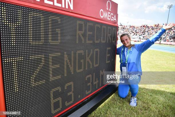 Elina Tzengko of Greece sets a new Youth Olympic record in Women's Javelin Throw 500g during day 7 of Buenos Aires 2018 Youth Olympic Games at Youth...